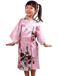 Kimono Robe de Chambre Enfant Fille en soie Artifielle - Peignoir Imprimé Longue pour Automne - Age Adapté 4-14 ans