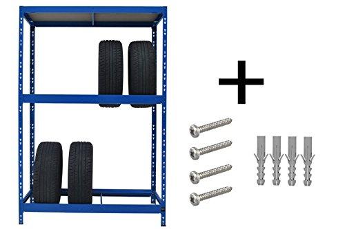 Sehr stabiles Reifenregal |  179 x 130 x 50 cm |  Hochwertig blau pulverbeschichtet |  130 cm breit |  1 Boden max. 200 kg Tragkraft |  Werkstattregal Reifenständer Metallregal Garagenregal