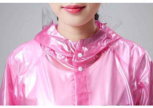 Adulte Voyage Randonnée Imperméable Transparent Piece long plastique épais Poncho ( couleur : Rose , taille : L ) Rose