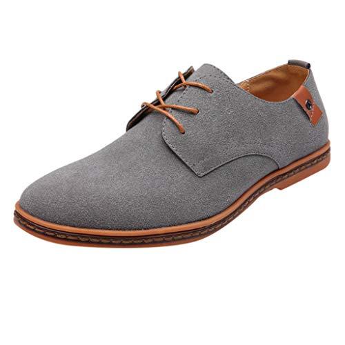 d8abcff5ec 9. riou Zapatos Casuales de Hombre con Cordones Zapatos de Negocios Zapatos  Oxford Moda Cuero Sólido Sneakers Negro Azul Gris Blanco 38-44