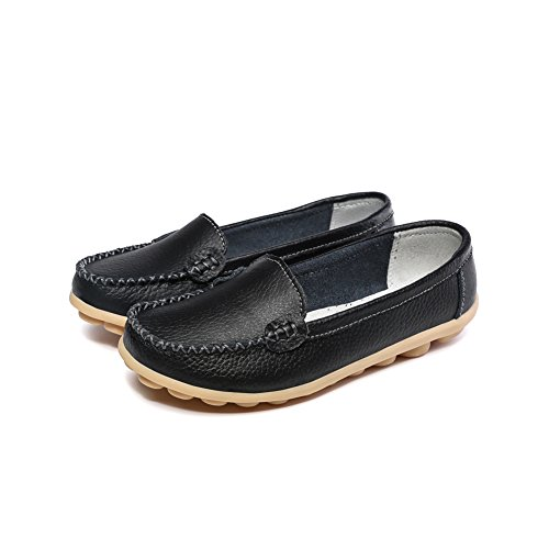 Women's Leather Loafers Moccasins Fashion Comfy Driving Flat Comfortable Shoes Black Size 7