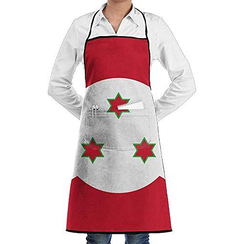 Wirt Kostüm Weihnachts - UQ Galaxy Kochschürze,Burundi Flag Schürze Lace Unisex Chef verstellbare Lange vollschwarze Küche Schürzen Lätzchen mit Taschen für Restaurant Backen BBQ