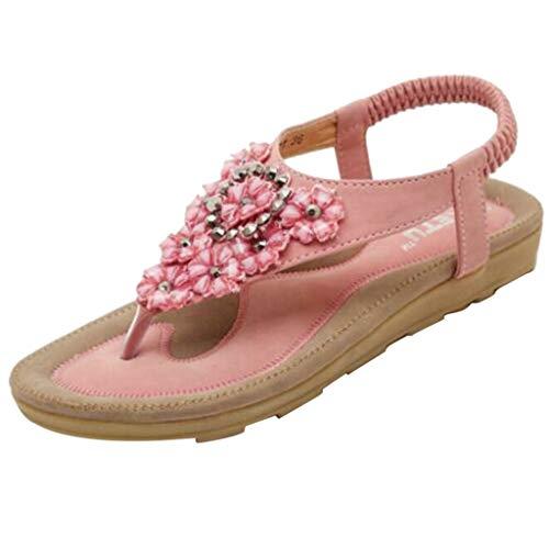 alen Sommer Flip Flops Bohemia Flache Schuhe Geflochtene T-Strap Strand Hausschuhe mit Strass Perlen Größe 35-42 ()