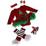 ZARU Mono recién nacido del bebé romper vestido con tutú ropa de los sistemas para bebé 4 piezas Trajes de Navidad