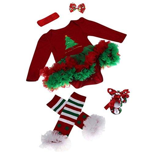 ZARU Mono recién nacido del bebé romper vestido con tutú ropa de los sistemas para bebé 4 piezas Trajes de Navidad (L, ROJO)