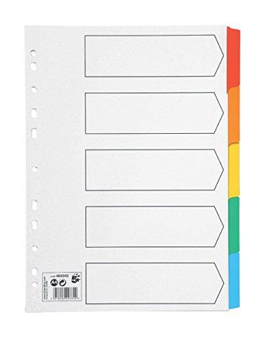 ikron Karte mit Farbige Mylar-Reiter 5-teilig A4weiß (Index-karte Speicher)