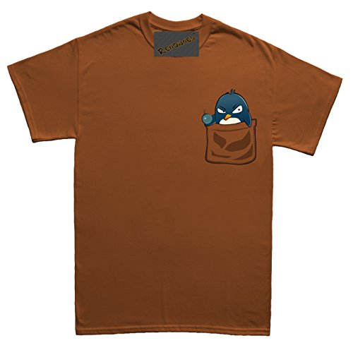 Renowned Penguin with attitude in my pocket Unisex - Kinder T Shirt Braun
