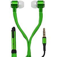 Cuffie Auricolari / EarPod con chiusura laccio / comandi , auricolari con sistema di soppressione del rumore / bassi ancora più potenti per iPhone, Sony, Samsung, LG, Huawei, HTC, etc. in verde di OKCS