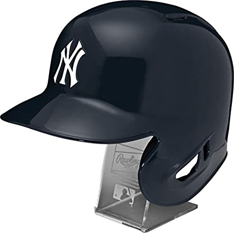 MLB New York Yankees Replica Batting Helmet with Engraved Stand, Official Size, Blue