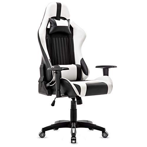 Intimate wm heart sedia gaming, sedia da ufficio sedia schienale alto reclinabile di pu ergonomica poltrona girevole regolabile sedia del gioco computer (bianco)