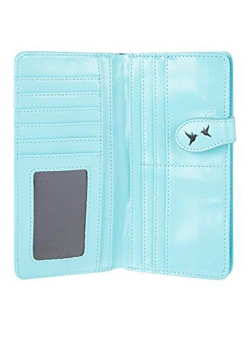 Shagwear portafoglio per giovani donne , Large Purse : Diversi colori e design : Gabbie di uccelli dell'annata Blu / Vintage Bird Cage
