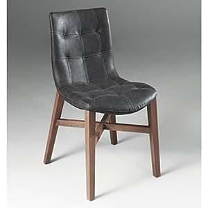 Chaise POSEIDON design noire en bois massif et similicuir