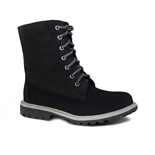 Cloud Nine Sheepskin Ladies Jo-Jo Boot in Black and Sand with 100% Sheepskin Linning, Lace-up Boot