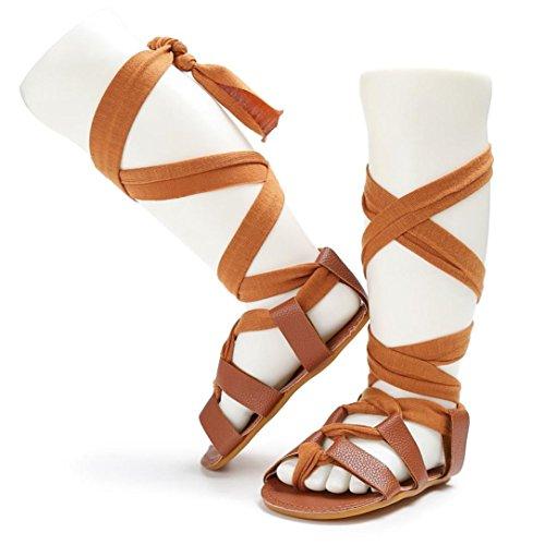 Clode® Bébé bandage Croix-attaché semelle chaussures fille tout-petits prémarcheur (6 ~ 12mois, Marron) Marron