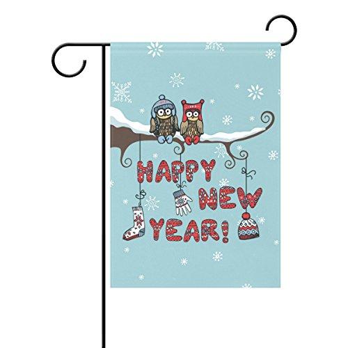Duble Sided niedliche Eule Paar sitzend auf Ast Strick Geschenk Happy New Year Polyester HAUS/Garten Flagge Banner 12x 18/71,1x 101,6cm für Hochzeit Party alle Wetter, Polyester, multi, 28x40 (Winter Eule Garten Flag)