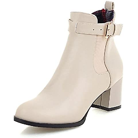 Botas de mujer botas moda / botas de combate polipiel exteriores / oficina / Carrera / Chunky talón OthersBlack Casual,Beige,US9.5-10 / UE41 / REINO UNIDO /7.5-8