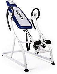 Klarfit Relax Zone Pro Tabla de inversión 150 kg (aparato ejercicio alivio dolor espalda tensión muscular, espuma 5cm, entrenamiento y relajación, hang up, estiramiento columna, apto todas las edades, blanco azul)