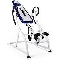 Klarfit Relax Zone Pro tabla de inversión (150 kg de peso máximo, 20 niveles ajustables, acero y vinilo, correas de nailon, pies antideslizantes, montaje rápido) - blanco azul