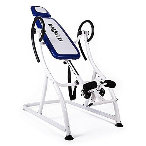 Klarfit Relax Zone Pro Table d'inversion (exercices du dos, cadre de construction en acier stable, 3 positions, rembourrage mousse, <150kg) - blanc & bleu