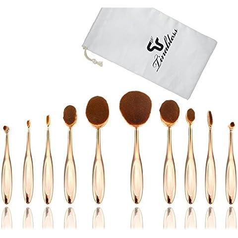 tinabless 10pcs cepillos pinceles y brochas de maquillaje profesional de maquillaje ovalada con bolsa de viaje (Gold)