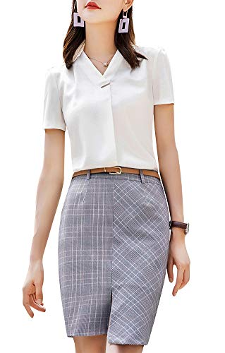 LISUEYNE Damen Langarm-Bluse Büro-Bluse Shirts Tops Chiffon Frauen Shirts Gr. M, Whitets-6125 - Drape-jersey-v-ausschnitt Tops