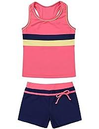 a6f3e32e5dd69 Freebily Girls  Kids  Two Piece Tankini Swimsuit Summer Beach Swimwear  Sports Tank Top with