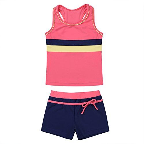iixpin Mädchen Ärmellos Zweiteiler Sport Set Hawaii Bikini Tankini Set Bademode Wettkampf-Badeanzug Badeshorts für 6-14 Jahre Wassermelonen Rot 164