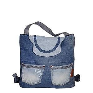 Damen Hybrid Rucksack aus Jeansstoff für Alltag & Schule – Handmade Große Schultasche mit Deckel – 42 x 46-50 x 10 cm 20l (blau)