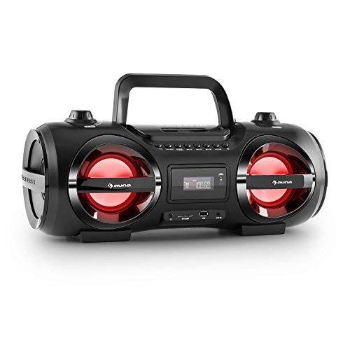 auna Soundstorm M • Minicadena • Estéreo • Bluetooth 3.0 Alcance 10 m • Puerto USB/SD Compatible con MP3 • Sintonizador Am-FM • Entrada AUX • Efectos de iluminación por LED • Portátil • Negro