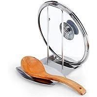 Pan de acero inoxidable Tapa de la olla Tapa Rack Soporte Soporte de la cuchara Descansos Clips Cocina Cocina Almacenamiento Organizador Accesorios - Plata