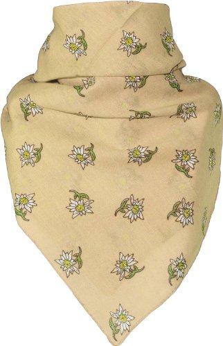 Bandana mit Edelweiss in 15 Farben aus Baumwolle, Farben:beige, Größen:Einheitsgröße