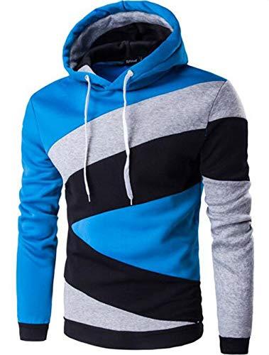 e Hip Hop Männer Hoodie Color Stitching Sweatshirt Herren Slim Fit Herren Hoody Hu LAN XL ()