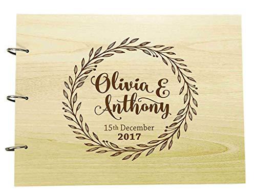 Livre d'or personnalisé fait à la main Mariage rustique Bois Gravé Livre de conseils Album photo Album photo personnalisé