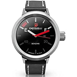 Chotovelli Big Pilot Men's Watch Automative Dial Analogue Display Black leather Strap 747.01