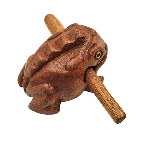 Croaking Wooden Frog Wooden Toad with Mallet Güiros Musical Instrument Sound Block Fair Trade Percussion Instrument Handmade Carved Natural Wood Lucky Frog 10cm Length,6cm width and 8cm height