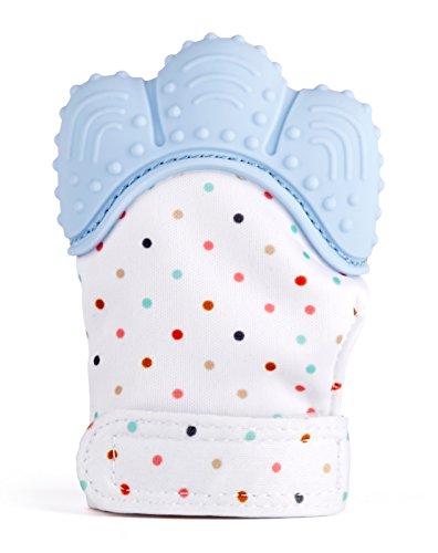 Cindeyar Baby Zahnen Handschuh,Food Grade Silikon Fäustlinge für Baby 3-18Monate,Chewable Safe Baby Teething Mitten (Blau)