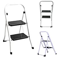 2 Step Ladder Safety Non Slip Mat Tread Foldable Kitchen Office Shop Stool Folding Easy Carry Home Garden Lightweight Stools SFM