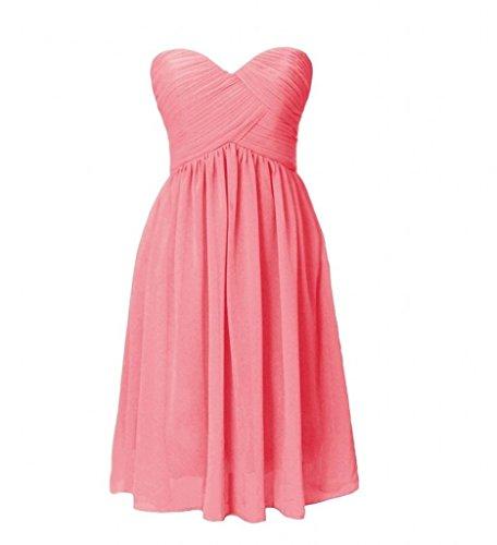 Milano Bride Einfach Chiffon Traegerlos Abendkleider Partykleider  Brautjungfernkleider mini Rock Wassermelon