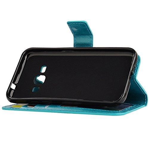 Für Samsung Galaxy J1 (2016) Solid Color Crazy Pferd Textur Horizontale Flip PU Leder Cover Case mit Halter & Card Slots & Wallet & Lanyard by diebelleu ( Color : Blue ) Blue