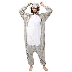 Katara- Pijamas Enteros Diferentes Animales y Tamaños, Adultos Unisex, Color hipopótamo Gris, Talla 175-185cm (1744)
