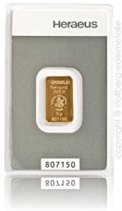 Goldbarren  5 Gramm Heraeus - Feingold 999.9 im Scheckkartenformat - LBMA...