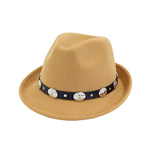 Frauen Hut breit flach Krempe Wollfilz Jazz Hut Western Western Cowboy Hut Paar Floppy Hat Hut (Farbe : Camel) Justin Womens Hut