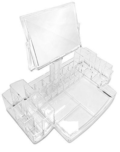 Oi LabelsTM Clear Acrylic Make-Up / Cosmetic / Jewellery / Nail Polish / Perfume Organiser Display Stand with Rotating Magnifying Mirror ( high grade 3mm acrylic).