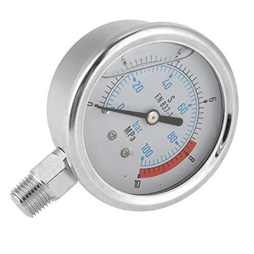 Medidor de presión hidráulica, resistente y duradero 0-100Bar 0-10Mpa 1/4