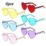 MEJOSER 6 Pack Partybrille Neon Farben Herzform Brille Gläser Sonnenbrille für Hochzeit JunggesellinnenabschiedFoto Requisiten Kostüm Party Club Tanz Props (ohne Rahmen) (ohne Rahmen)