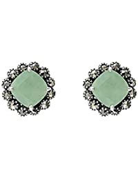Esse Marcasite Sterling Silver Square Cut Marcasite Classic Stud Earrings