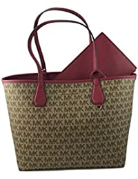 Michael Kors Candy Large Signature PVC Reversible Tote Bag In Beige/ Ebony/Cherry