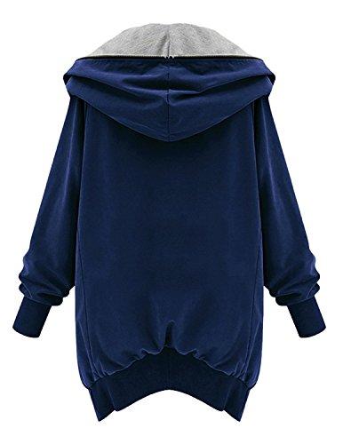 M-Queen Damen Jacke Reißverschluss Kapuzenmantel Hoodie Jumper Oversize Fliegerjacke Casualjacke Bomberjacke Baseballjacke Mäntel Oberteil Blau