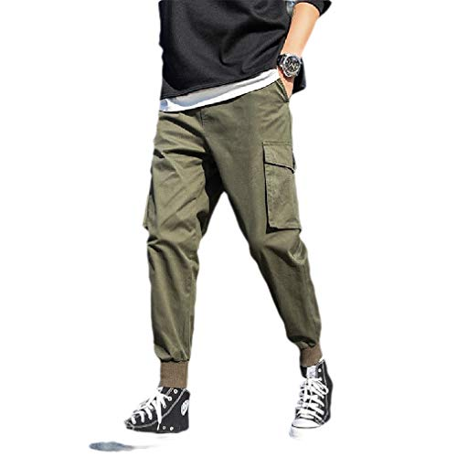CuteRose Mens Tenths Pants Multi Pockets Outdoor Plus Size Tapered Cargo Pant Army Green X
