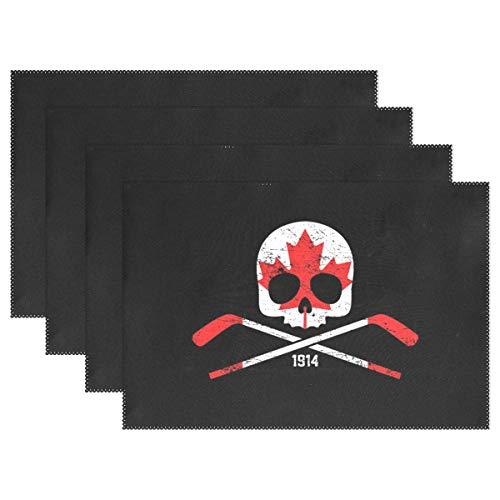 HEOEH Platzdeckchen Kanada Totenkopf gekreuzte Knochen Hockey Tischset Tischmatte hitzebeständig waschbar Platzmatten für Küche Esszimmer 12x18x1 in Mehrfarbig